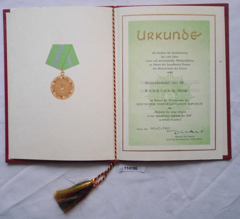 DDR Urkunde Medaille für treue Dienste Ministerium des Innern in Silber (114186)