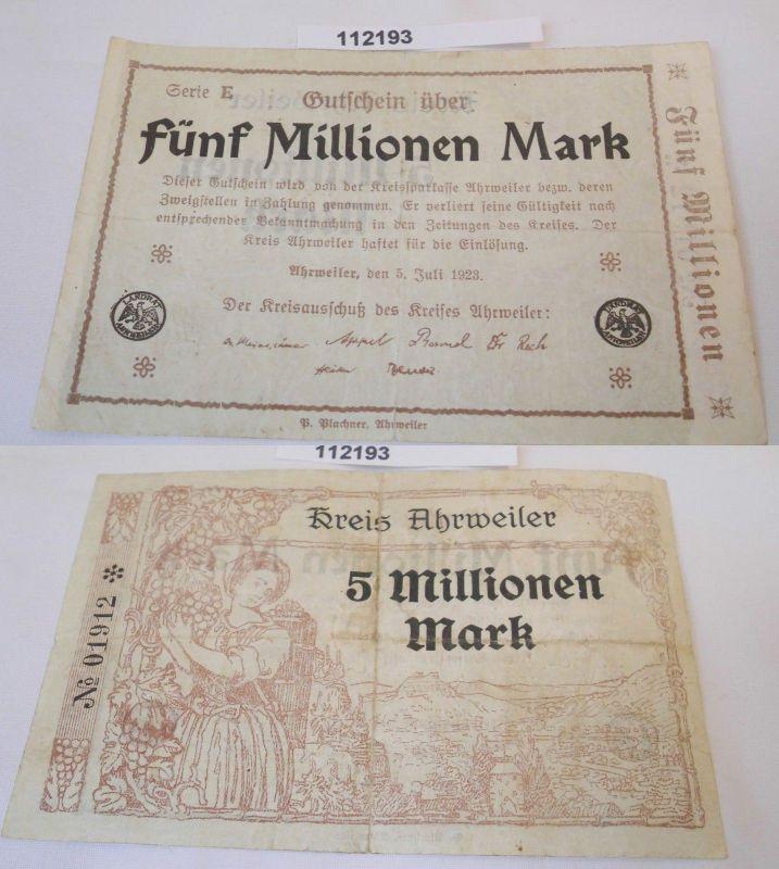 5 Millionen Mark Banknote Inflation Kreis Ahrweiler 5.Juli 1923 (112193)