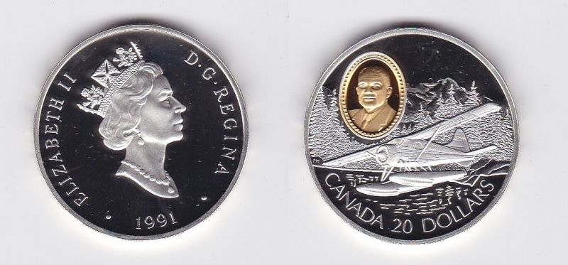 20 Dollar Silbermünze Kanada Wasserflugzeug 1991 (118511)