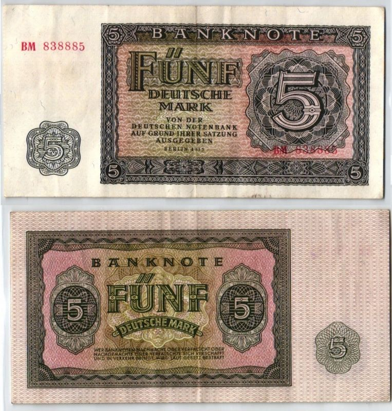 5 Mark Banknote DDR Deutsche Notenbank Berlin 1955 (121509)