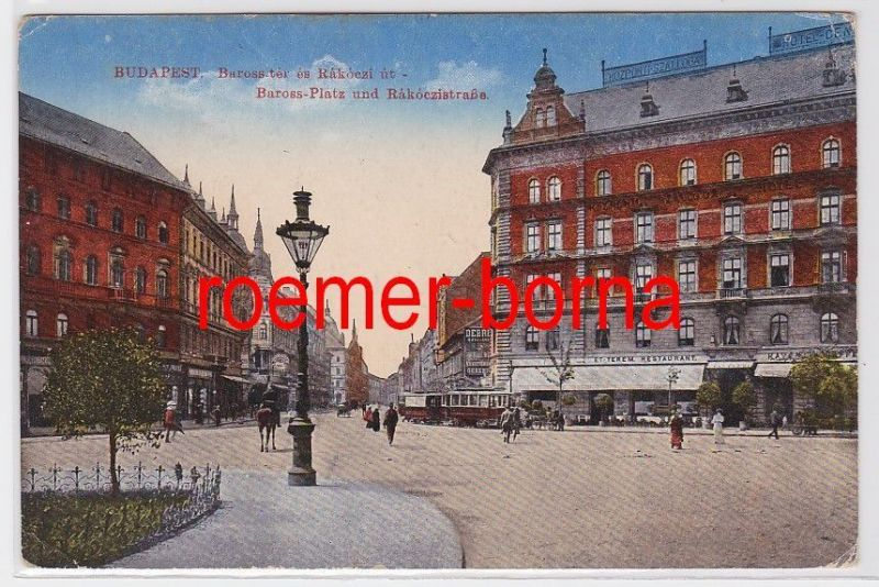 82990 Ak Budapest Ungarn Baross Platz und Rakoczistrasse 1918