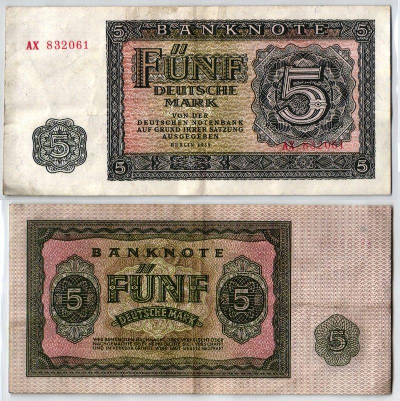 5 Mark Banknote DDR Deutsche Notenbank Berlin 1955 (122400)