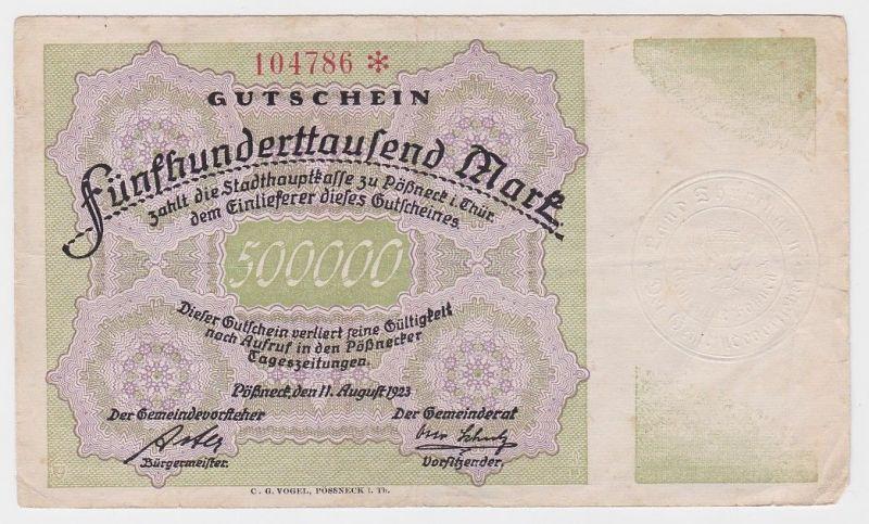 500000 Mark Banknote Gemeinde Pössneck 11.08.1923 (124804)