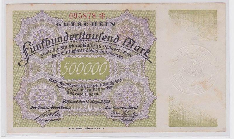 500000 Mark Banknote Gemeinde Pössneck 11.08.1923 (123720)