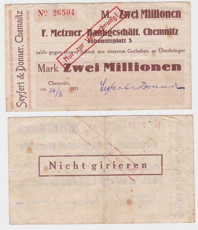 2 Millionen Mark Banknote F.Metzner Bankgeschäft Chemnitz 24.8.1923 (124628)