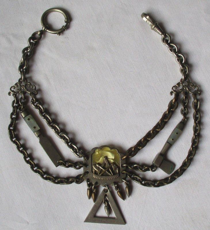 Uhrkette Zunftzeichen Zimmermann Schmuckkette für Handwerker um 1930 (106317)