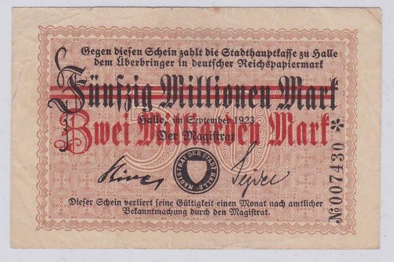 2 Milliarden Mark Banknote Stadthauptkasse Halle September 1923 (112104)