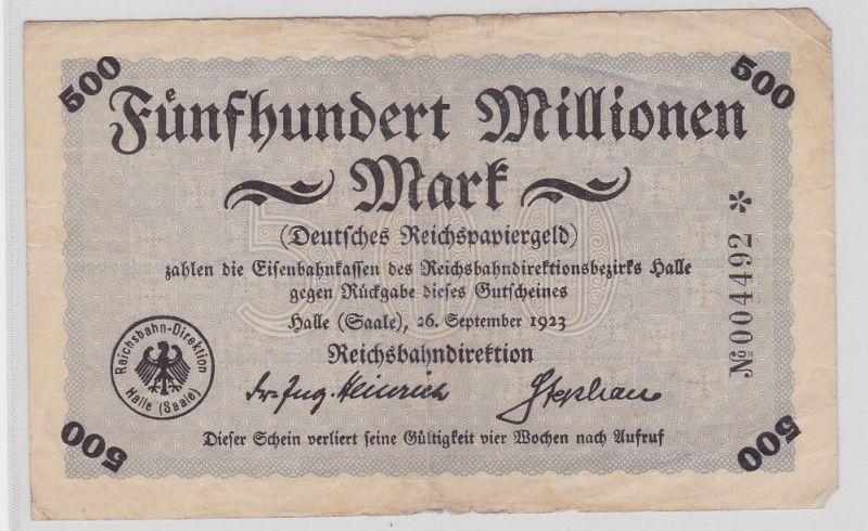 500 Millionen Mark Banknote Halle Reichsbahndirektion 26.9.1923 (124105)