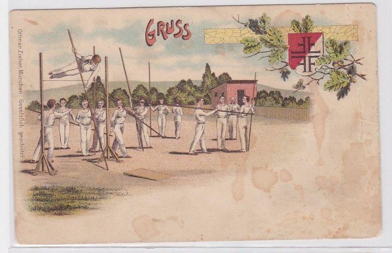 77616 Ak Lithographie Gruß vom Sportplatz mit Turnern 1899