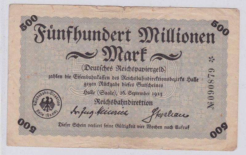 500 Millionen Mark Banknote Halle Reichsbahndirektion 26.9.1923 (124904) 0