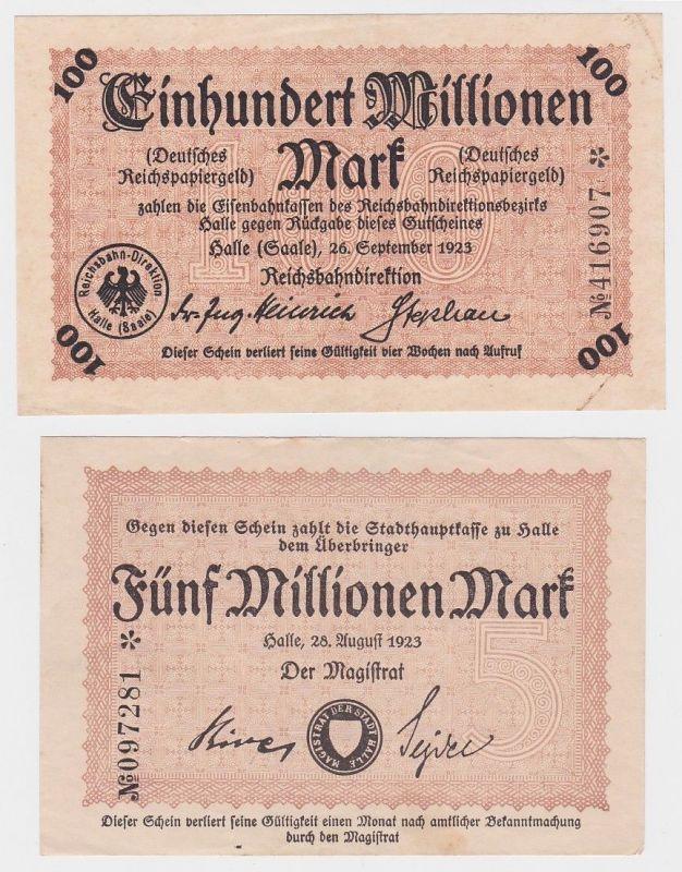 5 & 100 Millionen Mark Banknoten Reichsbahndirektion Halle 1923 (120012)