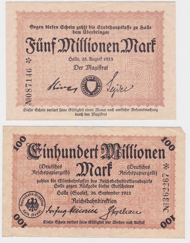 5 & 100 Millionen Mark Banknoten Reichsbahndirektion Halle 1923 (123577)