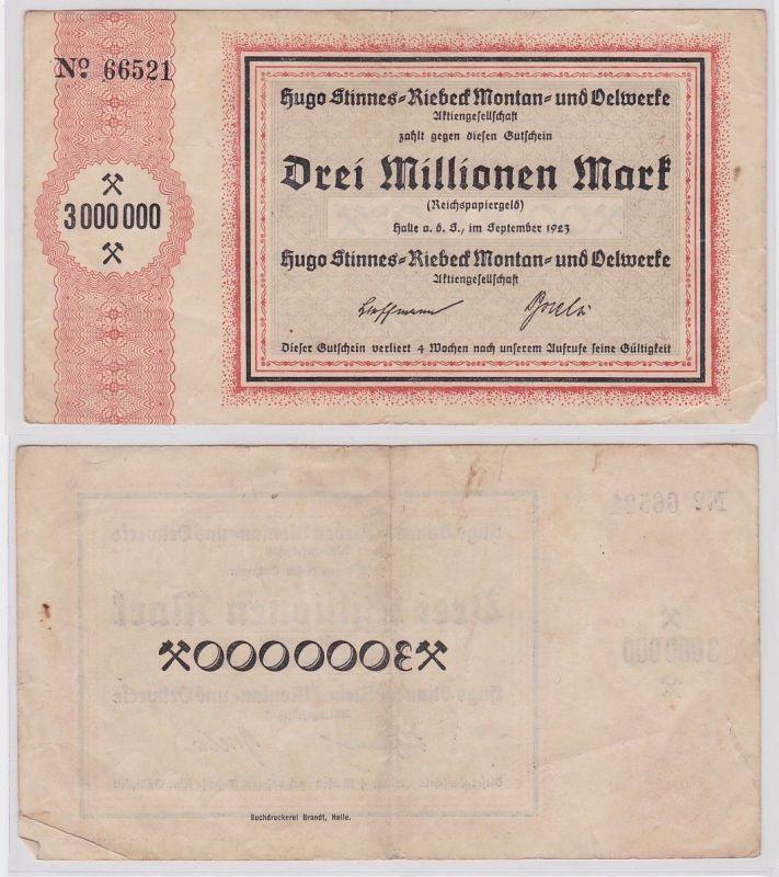 3 Millionen Mark Banknote Halle Hugo Stinnes Riebeck Montan 1923 (124510)