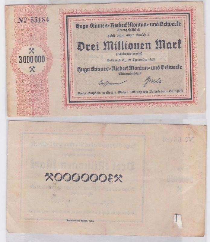 3 Millionen Mark Banknote Halle Hugo Stinnes Riebeck Montan 1923 (112399)
