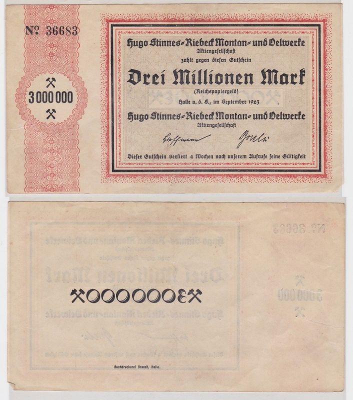 3 Millionen Mark Banknote Halle Hugo Stinnes Riebeck Montan 1923 (124709)