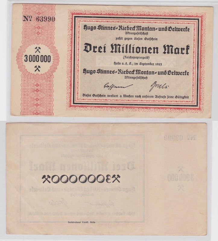 3 Millionen Mark Banknote Halle Hugo Stinnes Riebeck Montan 1923 (124569) 0