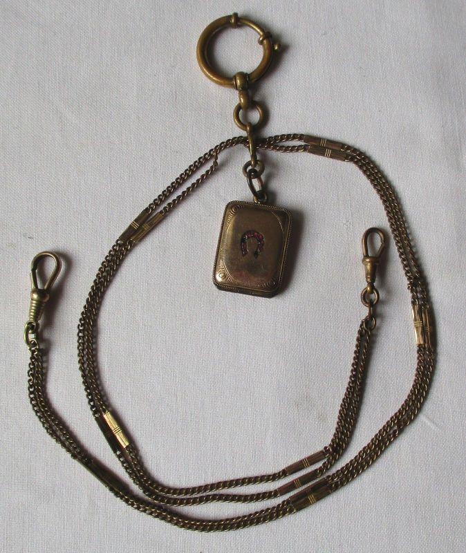 Alte Uhrkette + Bierzipfel für Herrentaschenuhr Länge 49 cm um 1930 (111369)