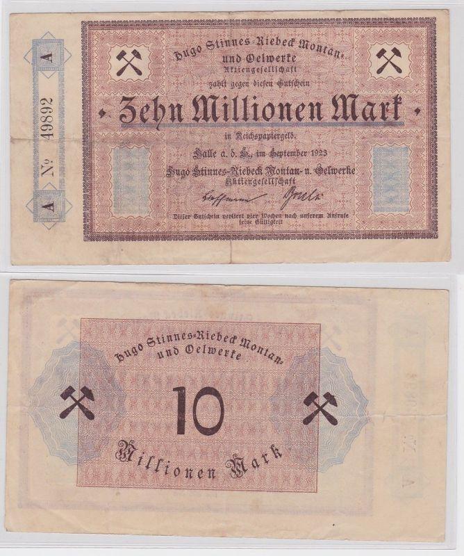 10 Millionen Mark Banknote Halle Hugo Stinnes Riebeck Montan 1923 (123820)