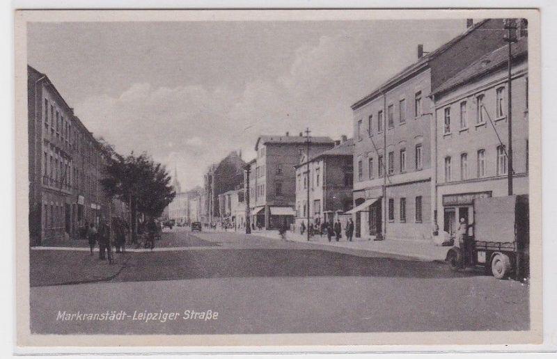 76625 Ak Markranstädt Leipziger Straße mit Geschäften 1958