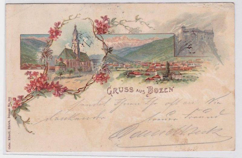81063 AK Gruss aus Bozen - Kirche, Schloss und Panorama 1898