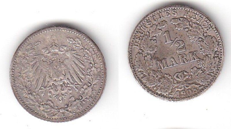 12 Mark Silber Münze Deutsches Reich 1908 E 115055 Nr
