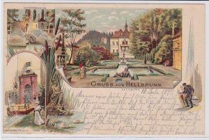 90784 AK Gruss aus Hellbrunn - Neptungrotte, Marmorbassins 1897