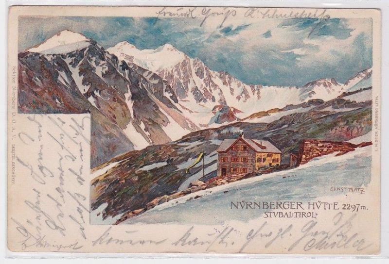 90369 Künstler AK Ernst Platz Nürnberger Hütte - Stubai Tirol 1905