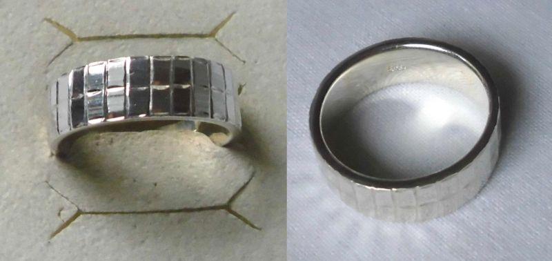 Künstlerischer Damen Ring 925er Silber mit eckigem Muster (120959)