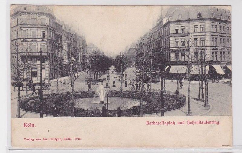 92564 AK Köln - Barbarossaplatz und Hohenstaufenring mit Brunnen & Verkehr 1902