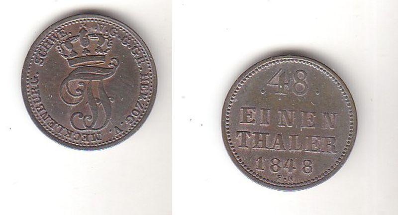 1/48 Taler Silber Münze Mecklenburg Schwerin 1848 (111855)