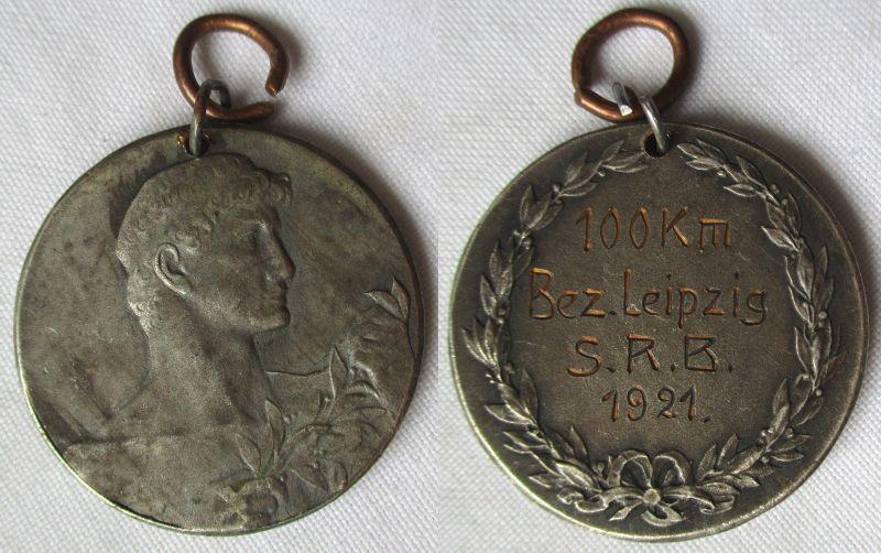 Alte Medaille sächsischer Radfahrerbund Leipzig 100 km Bez.Leipzig 1921 (118229)