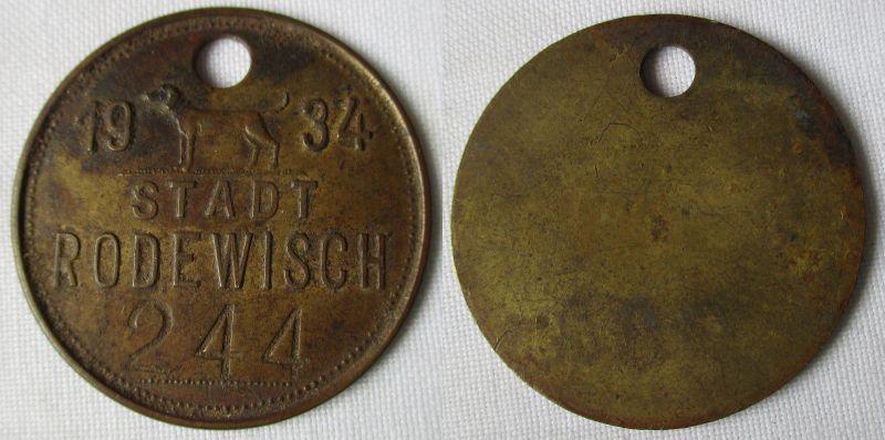Seltene Messing Wertmarke Hundesteuer Stadt Rodewisch 1934 (116192)