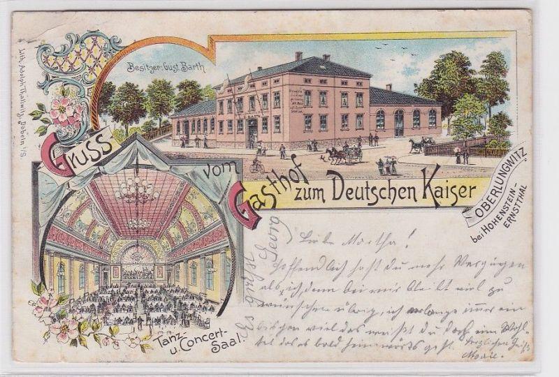 68443 Ak Lithographie Gruß vom Gasthof zum Deutschen Kaiser Oberlungwitz 1912