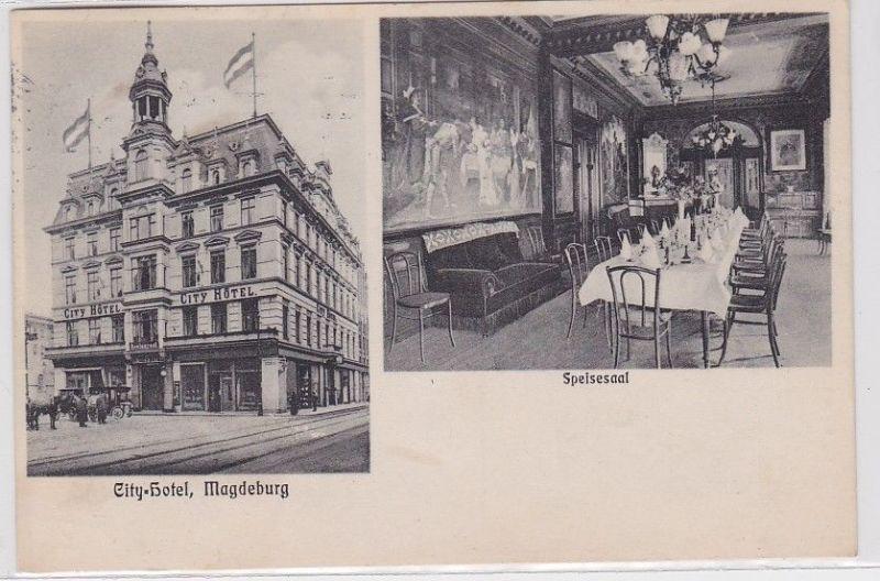 91060 Mehrbild Ak Magdeburg City Hotel Aussenansicht & Speisesaal 1910