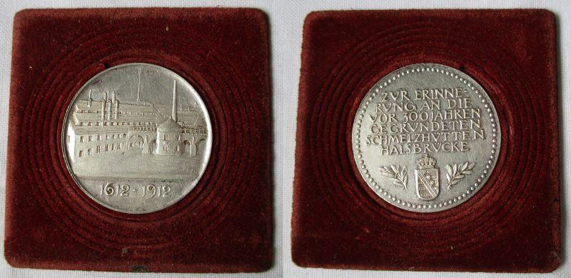 Seltene Silber Medaille 300 Jahre Schmelzhütten Halsbrücke 1612-1912 (115942)