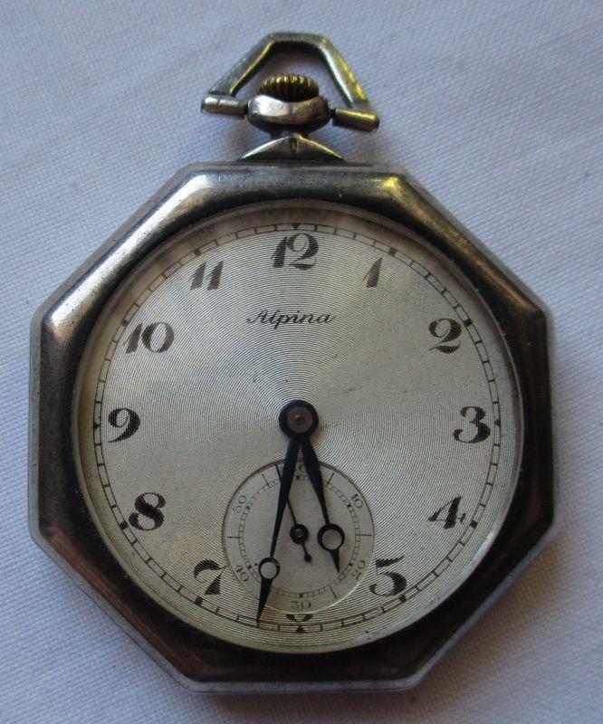 Elegante Lépine Herren Taschenuhr Alpina 925er Silber um 1930 (124704)