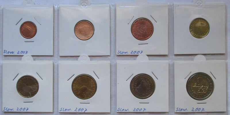 Kursmünzsatz Slowenien 8 Münzen 1 Cent - 2 Euro 2007 vz/Stgl. (121757)