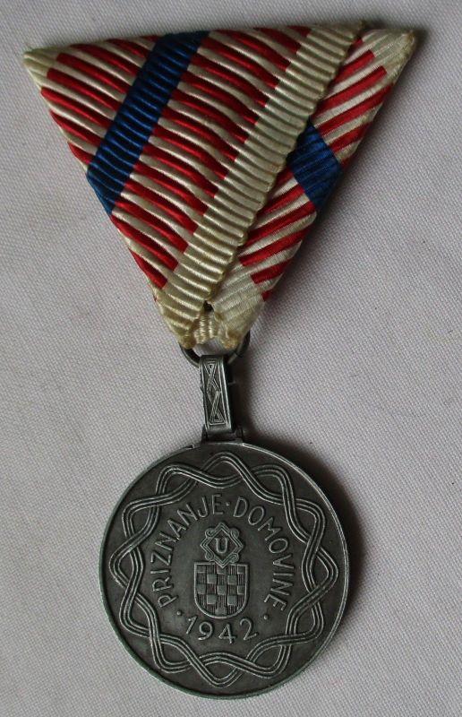 Kroatien Verwundeten Abzeichen Medaille Priznanje Domovine 1942 am Band (115131)