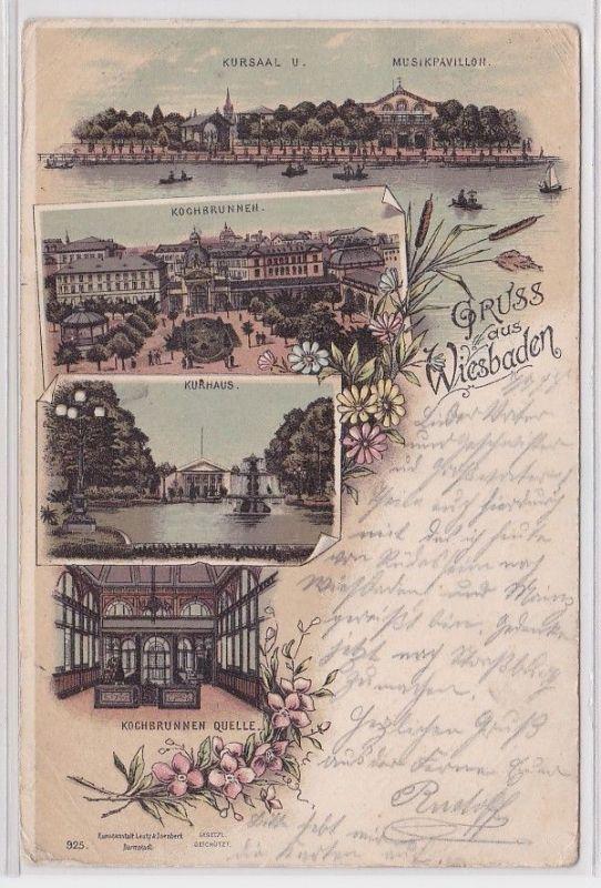 89011 Ak Lithographie Gruss aus Wiesbaden Kochbrunnen, Kurhaus usw. 1898