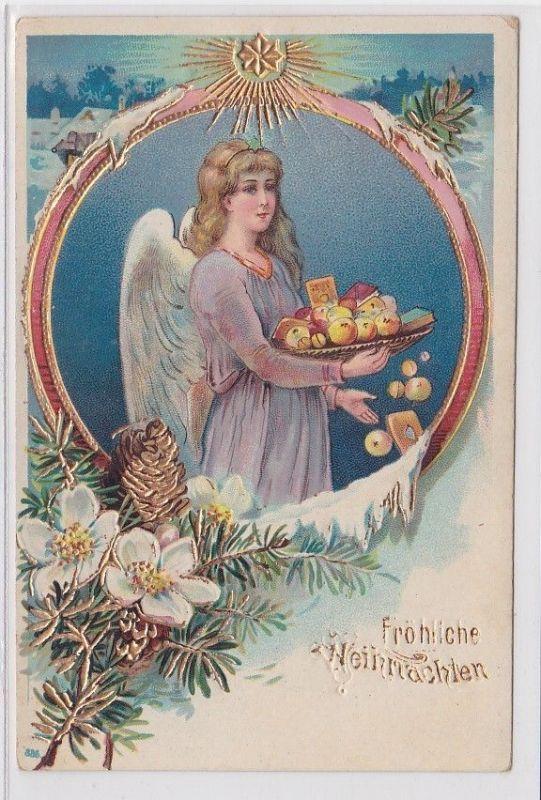 60468 Fröhliche Weihnachten Präge Ak Engel mit Gabenteller um 1900