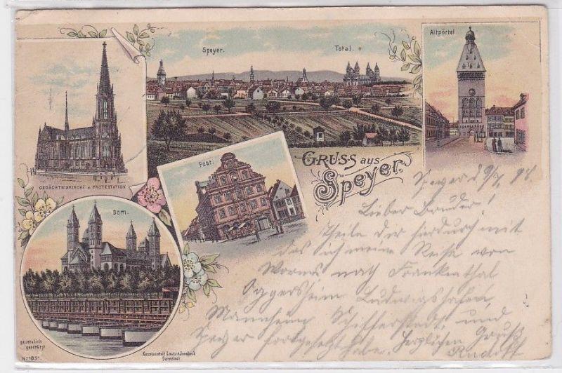 78116 Ak Lithographie Gruss aus Speyer Post, Dom usw. 1899