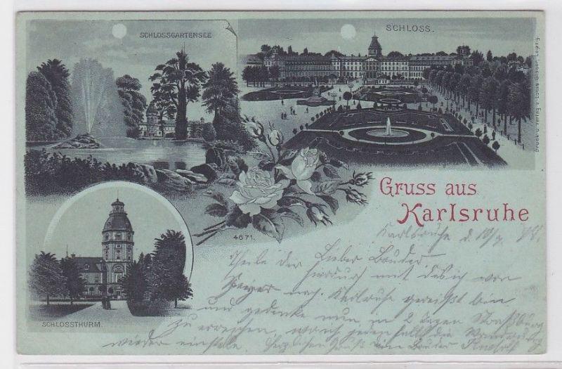 87164 Mondscheinkarte Gruss aus Karlsruhe 1899