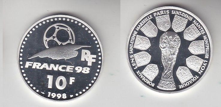 10 Franc Silber Münze Frankreich Fußball WM Frankreich 1998, 1998 (116418)