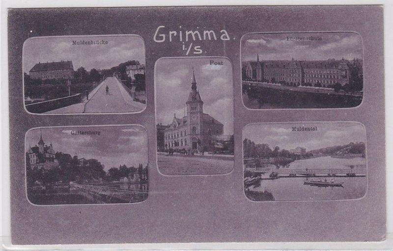 77413 AK Grimma in Sachsen - Muldenbrücke, Gattersburg, Post, Muldental & Schule