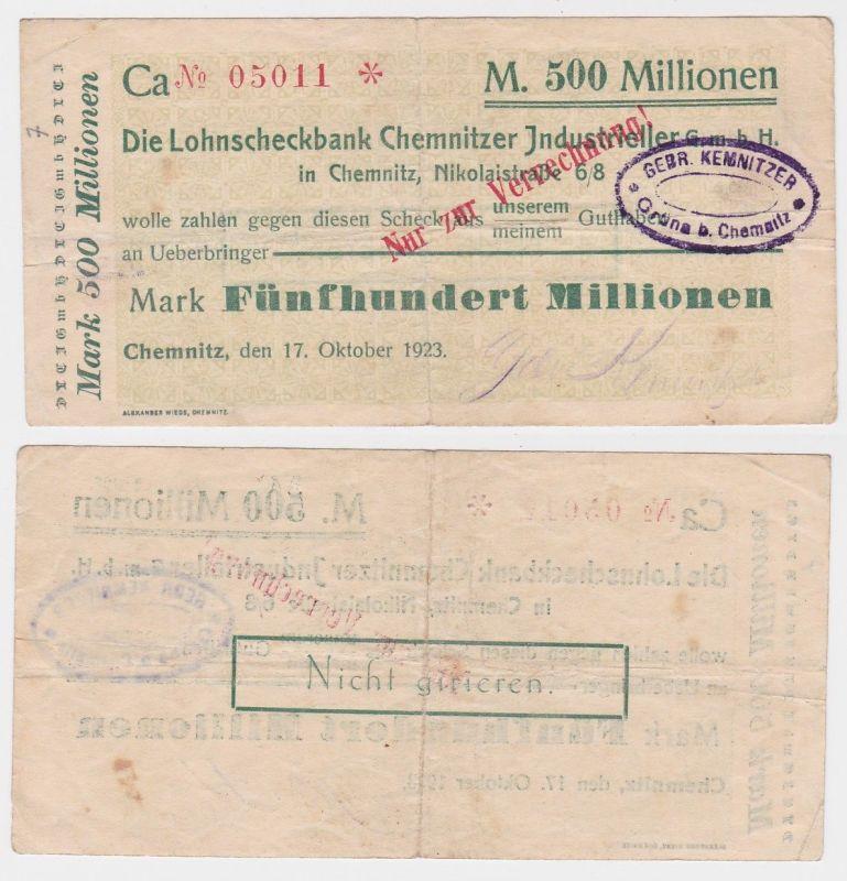 500 Millionen Mark Banknote Lohnscheckbank Chemnitz 17.10.1923 (121911)