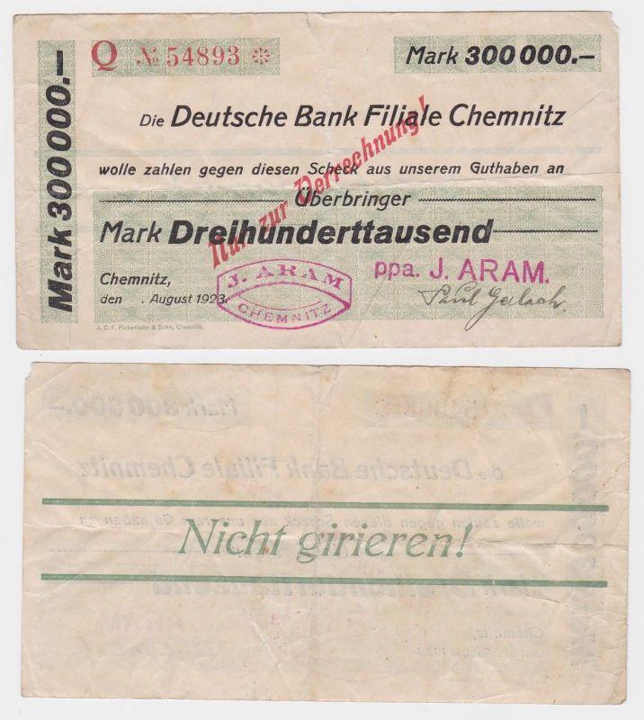 300000 Mark Banknote Deutsche Bank Filiale Chemnitz August 1923 (121911)