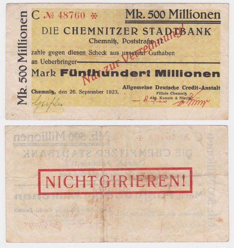 500 Millionen Mark Banknote Chemnitzer Stadtbank 26.09.1923 (122185)