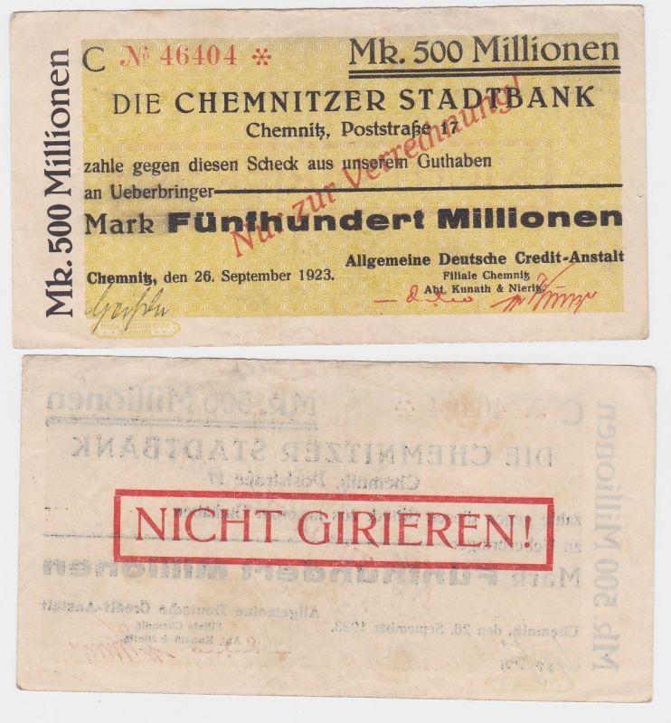 500 Millionen Mark Banknote Chemnitzer Stadtbank 26.09.1923 (120253)