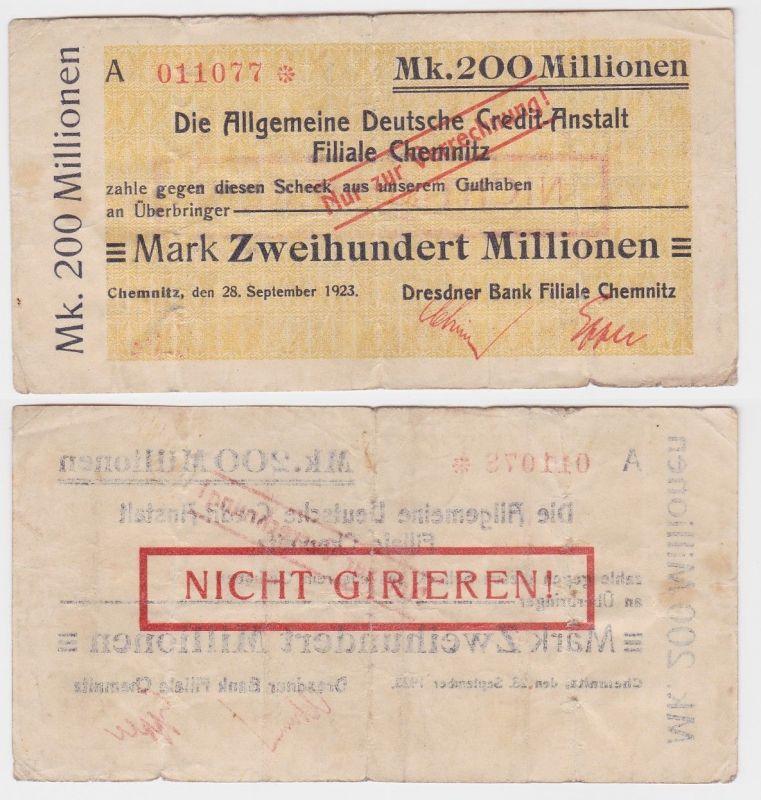 200 Millionen Mark Banknote Chemnitz Allg.dt.Credit Anstalt 28.09.1923 (121437)
