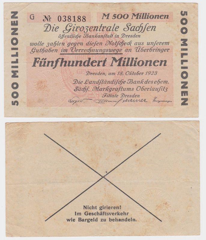 500 Millionen Mark Banknote Girozentrale Sachsen Dresden 18.10.1923(121428)